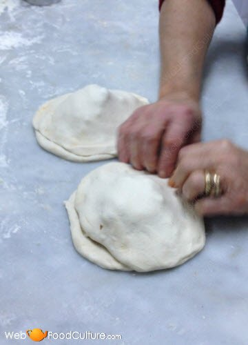 Folding the 'calzone'.