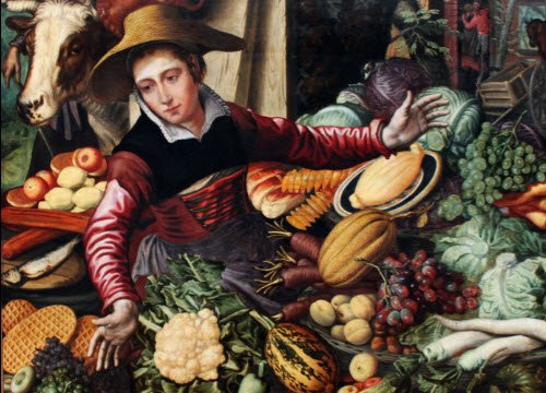 Renaissance banquets by Vatel: Market woman at a vegetable stand (img-10)