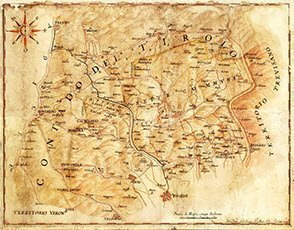 Asiago Cheese: Map of the Province of Vicenza, 17th Century (img-02)
