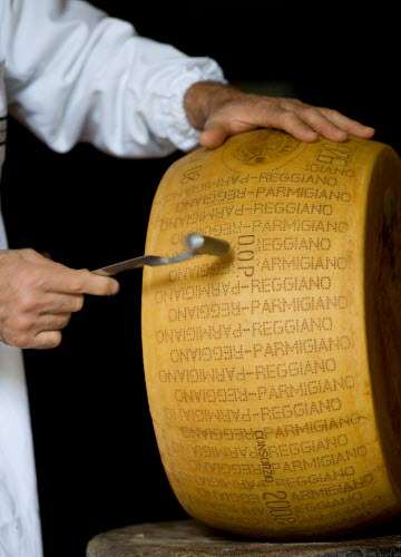 The 'battitore' examines the wheel of Parmigiano (crt-01)