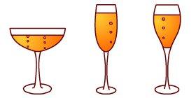 Champagne wine: Champagne glass.