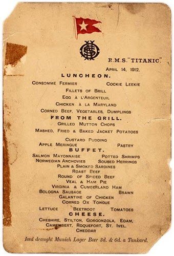 Gorgonzola in the Titanic's first-class menu (crt-01)