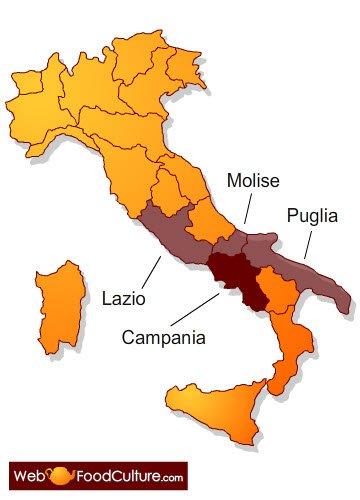 Le zone di produzione del Mozzarella di Bufala Campana DOP.
