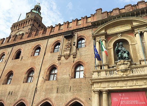 Traditional food and wine from Emilia-Romagna: Bologna, D'Accursio palace.