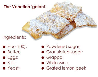 Venetian Galani: ingredients.